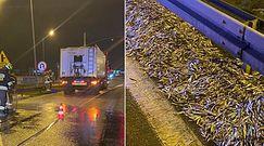 Dwie tony ryb na jezdni. Nietypowy wypadek w Wejherowie