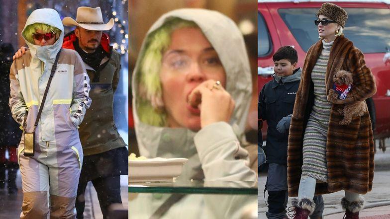 Skryta pod włochatą czapą Katy Perry spędza błogie chwile u boku Orlando Blooma i jego synka (FOTO)