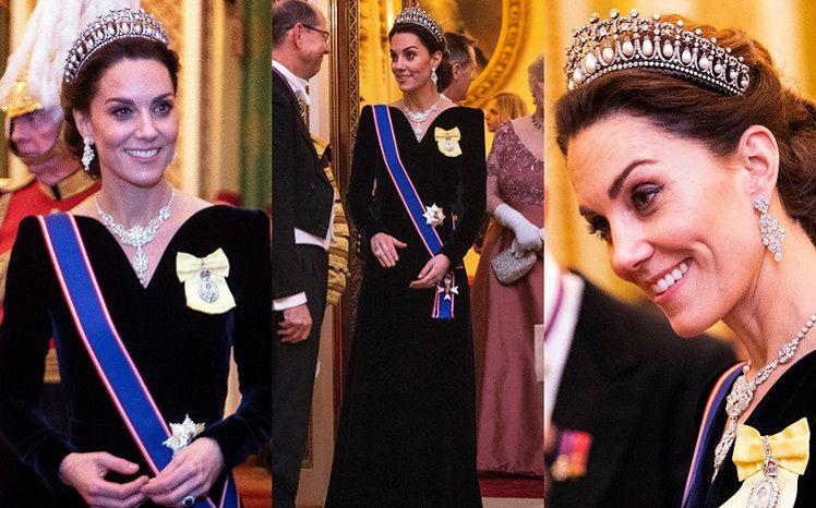 Dostojna księżna Kate w sukni Alexandra McQueena i tiarze Diany na dyplomatycznym przyjęciu (ZDJĘCIA)