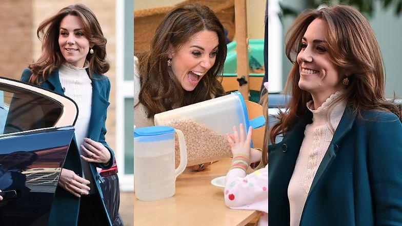 Księżna Kate z uśmiechem na twarzy zmierza do przedszkola, gdzie przyrządza dla najmłodszych... płatki z mlekiem