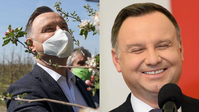 """Radosny Andrzej Duda kontempluje przyrodę w maseczce Z RĘCZNIKA PAPIEROWEGO. Internauci zdezorientowani: """"SERIO?"""" (FOTO)"""