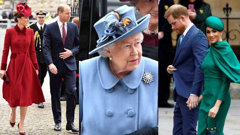 """Rodzina królewska w towarzystwie """"po prostu Harry'ego"""" i rozpromienionej Meghan Markle zadaje szyku na mszy z okazji Commonwealth Day (ZDJĘCIA)"""