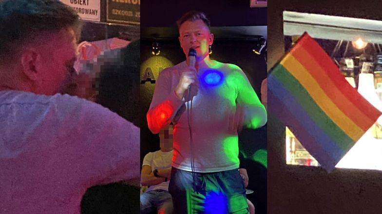 TYLKO NA PUDELKU: Rafał Brzozowski spędził miły wieczór w GEJOWSKIM KLUBIE: najpierw karaoke, potem pocałunek z dziewczyną pod tęczową flagą (ZDJĘCIA)