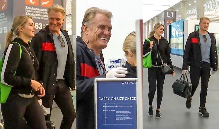 62-letni Dolph Lundgren przyłapany na meksykańskim lotnisku z młodszą o 38 lat kochanką. Pasują do siebie? (ZDJĘCIA)