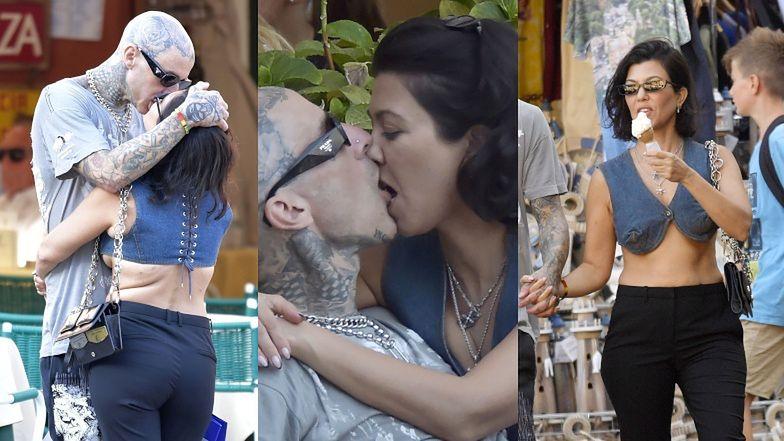 Ugodzeni strzałą Amora Kourtney Kardashian i Travis Barker oddają się INTYMNYM PIESZCZOTOM w centrum Portofino (ZDJĘCIA)