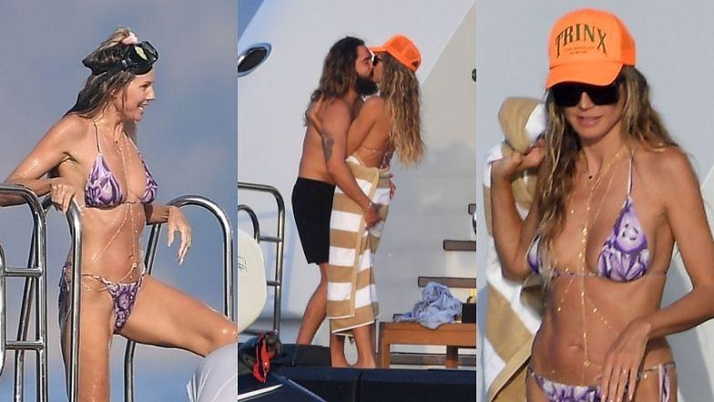 48-letnia Heidi Klum prezentuje zgrabną sylwetkę w bikini i OBŚCISKUJE SIĘ z mężem na jachcie (ZDJĘCIA)