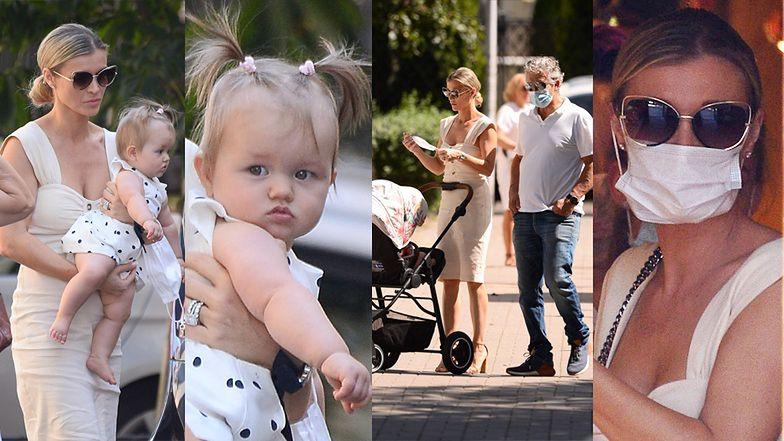 """Elegancka Joanna Krupa z córeczką i mężem idzie na lunch do """"restauracji celebrytów"""""""
