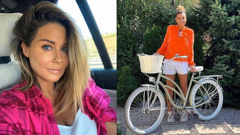 """Zaangażowana Małgorzata Rozenek nawołuje do szukania alternatyw dla jazdy samochodem. Internauta: """"Ledwo PO PORODZIE i już rower?"""" (FOTO)"""