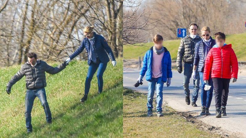 Joanna Brodzik i Paweł Wilczak chronią się przed koronawirusem podczas rodzinnego spaceru w parku (ZDJĘCIA)