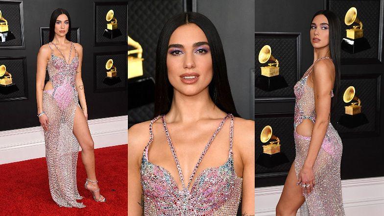 Grammy 2021: Dua Lipa gra nogą w prześwitującej kreacji Versace (ZDJĘCIA)