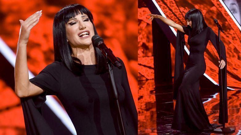 Opole 2021. Justyna Steczkowska w stylizacji na Morticię Addams śpiewa Ewę Demarczyk (ZDJĘCIA)