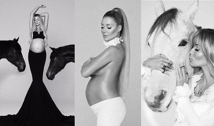 Wyzwolona Małgorzata Rozenek z  ciążowym brzuchem głaszcze konie w odważnej sesji (ZDJĘCIA)