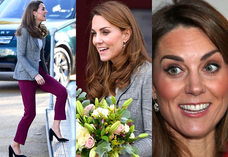 Księżna Kate w spodniach i kolczykach za 14 tysięcy złotych spotyka się z wolontariuszami