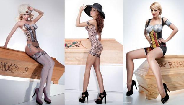 NAGIE modelki reklamują... TRUMNY! (ZDJĘCIA)