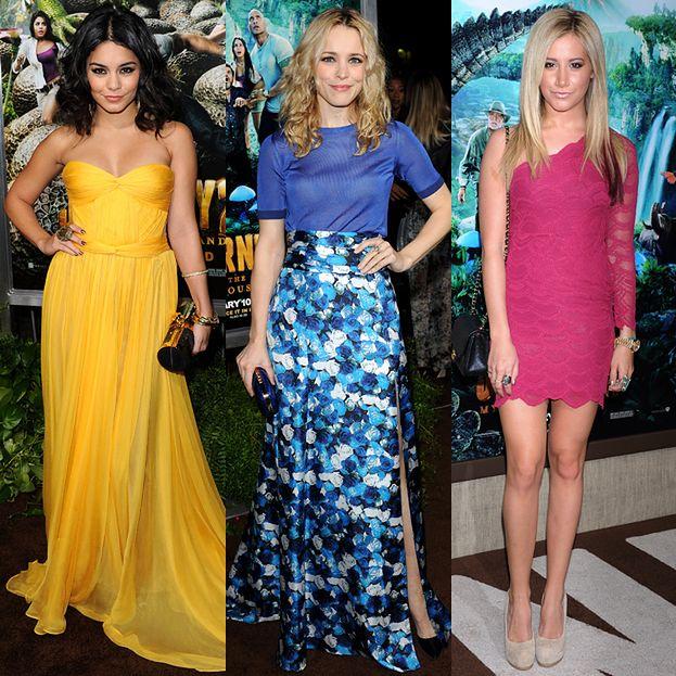 Kolorowe sukienki na premierze