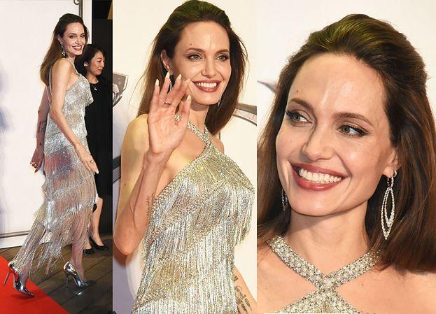 """Angelina Jolie błyszczała (dosłownie) w srebrzystej sukni na premierze """"Czarownicy"""" w Tokio (FOTO)"""