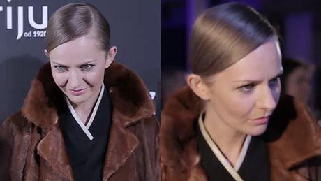 Szczupła Stankiewicz w futerku na pokazie Przybylskiego