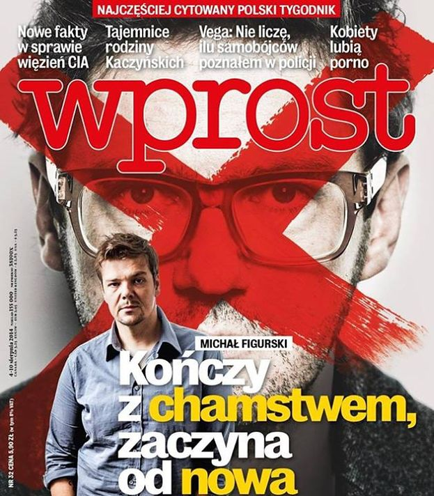 """Figurski """"KOŃCZY Z CHAMSTWEM""""… na okładce """"Wprost""""!"""