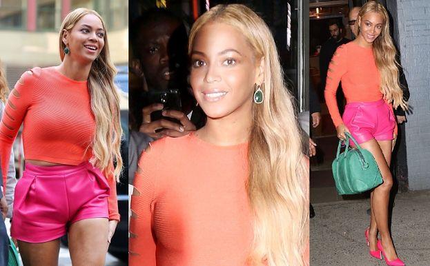 Beyonce w Nowym Jorku w różowych szortach… (ZDJĘCIA)