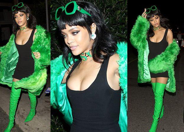 Rihanna pokazuje dekolt w zielonym futrze! (ZDJĘCIA)
