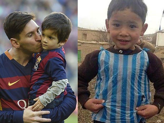"""Chłopiec zrobił sobie """"koszulkę"""" Messiego z reklamówki. Szukał go cały świat"""