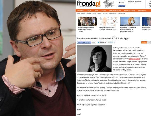 """Fronda o śmierci działaczki feministycznej: """"Prośmy Boga, żeby przebaczył jej ZŁO, KTÓRE WYRZĄDZIŁA""""..."""