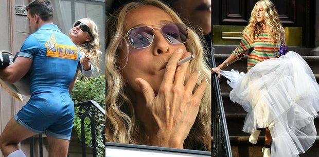 """Sarah Jessica Parker puszcza dymka i zajada się bagietką w trakcie zdjęć do kontynuacji """"Seksu w wielkim mieście""""! IKONA? (ZDJĘCIA)"""