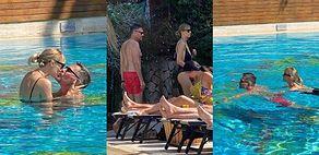 TYLKO NA PUDELKU: Krzysztof Ibisz i Joanna Kudzbalska korzystają z miesiąca miodowego, MIGDALĄC się w basenie (ZDJĘCIA)