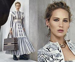 Skupiona Jennifer Lawrence reklamuje Diora w sukni inspirowanej Dzikim Zachodem