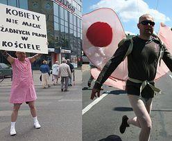 """""""Człowiek-motyl"""" jako kobieta na procesji w Łodzi! """"Kobiety! Nie macie żadnych praw w Kościele"""""""