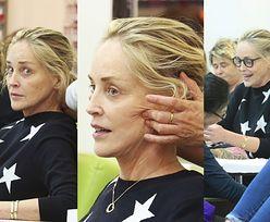 Sharon Stone w wersji sauté próbuje się zrelaksować na masażu twarzy (ZDJĘCIA)