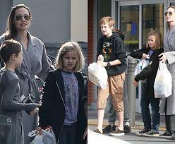 Angelina Jolie wybrała się na świąteczne zakupy z trójką biologicznych dzieci (FOTO)