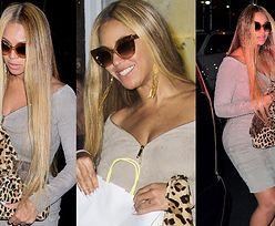 Beyonce w obcisłej sukience zasłania brzuch torebką za 8 tysięcy (ZDJECIA)