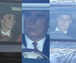 Świąteczny zjazd royalsów u królowej Elżbiety II: Rozbawieni księżna Kate i książę William, znudzony wizytą Louis, przerażony książę Andrzej... (ZDJĘCIA)