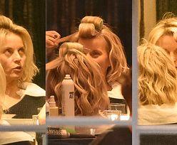 Naturalna Małgorzata Foremniak z wałkami na głowie robi się na bóstwo u fryzjera (ZDJĘCIA)