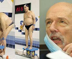 Janusz Korwin-Mikke solidaryzuje się z branżą fitness, prężąc ciało na basenie (FOTO)