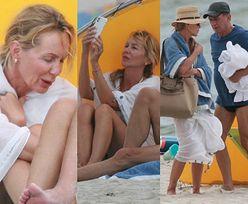 ZMARZNIĘCI Beata Ścibakówna i Jan Englert wypoczywają na plaży w Juracie (ZDJĘCIA)