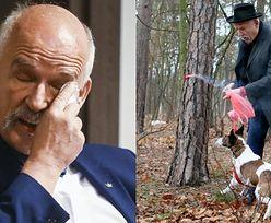 Janusz Korwin-Mikke stanie przed sądem? Policja wszczęła dochodzenie w sprawie ZNĘCANIA SIĘ NAD PSEM przez polityka