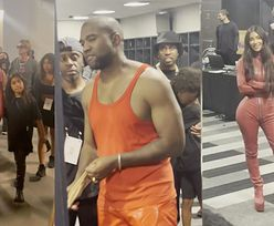 Odziana w obcisły kombinezon Kim Kardashian WSPIERA Kanye Westa na imprezie w Atlancie (ZDJĘCIA)