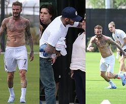 David Beckham prezentuje muskulaturę podczas rodzinnego meczu piłki nożnej na opustoszałym stadionie w Miami (ZDJĘCIA)