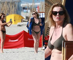 Wiecznie młoda Grażyna Szapołowska pręży się w bikini, pozując z chustą do sesji na plaży w Juracie (ZDJĘCIA)