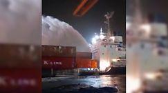 Pożar w porcie w Dubaju. Nagranie z akcji po potężnej eksplozji kontenerowca