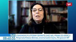 Czwarta przesłanka do aborcji? Małgorzata Kidawa-Błońska o projekcie KO