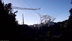 Moment zawalenia się radioteleskopu z Arecibo. Nagranie z drona