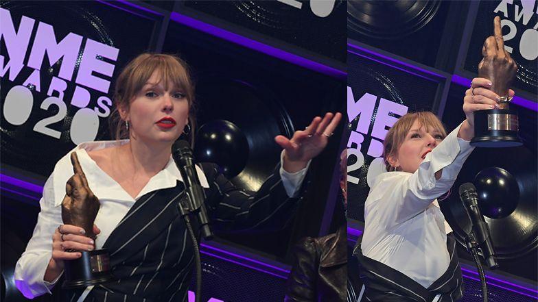"""Taylor Swift pyszni się nagrodą NME w kształcie """"FAKA"""" (FOTO)"""