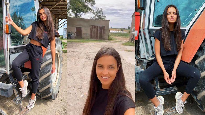"""Pozująca dumnie na traktorze Klaudia El Dursi uspokaja: """"NIE MAM ASPIRACJI DO BYCIA ROLNIKIEM"""" (FOTO)"""