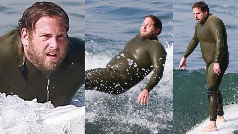 Surfer Jonah Hill ŁAPIE FALE na plaży w Malibu (ZDJĘCIA)