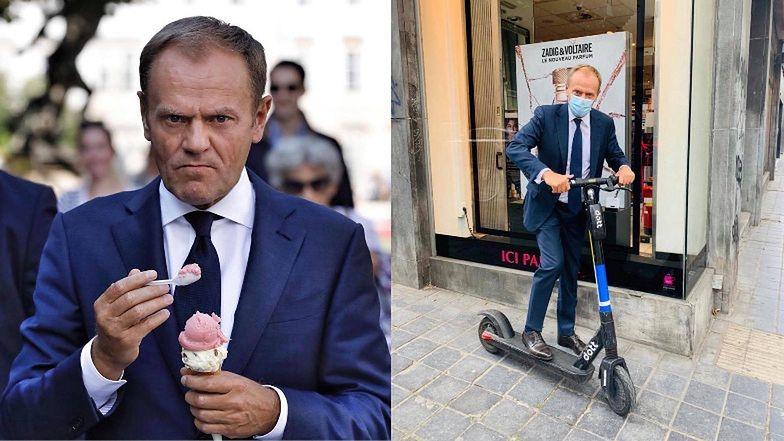 """""""Młodzieżowy"""" Donald Tusk pozuje na hulajnodze: """"Nigdy więcej SŁUŻBOWEJ LIMUZYNY"""" (FOTO)"""