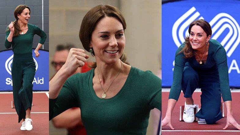 Uśmiechnięta księżna Kate w eleganckim, sportowym wdzianku startuje w biegu charytatywnym (ZDJĘCIA)