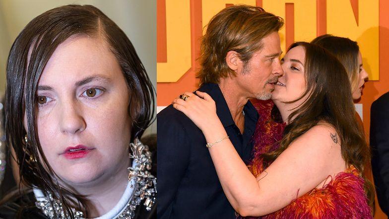 """Atencyjna Lena Dunham tłumaczy się z OBŚCISKIWANIA Brada Pitta. """"Zabrał mnie później do pokoju i zjadł ze mną pizzę"""""""
